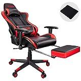 VADIM Gaming Stuhl Racing Bürostuhl,150kg Belastbarkeit, Kopfkissen und Rückenpolster im Stylischen Ergonomischen Design, Perfekt für Streamer und Hobbygamer, Rot mit Fußstütze!