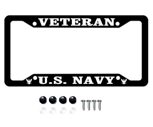 DZGlobal Veteran U.S. Navy License Plate Covers Chrome License Plate Frame Tag Holder 4 Holes