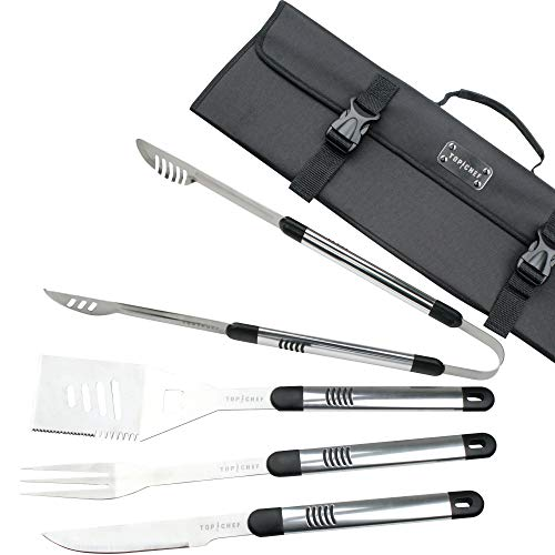 5 Piece BBQ Tool Set with Tote Grilling Kit Garden Patios Outdoor BBQ Utensils Barbecue Grill Multi Tools BBQ Accessories Set Tong, Spatula, Fork, Knife Best Gift for Men Birthday, Stainless Steel