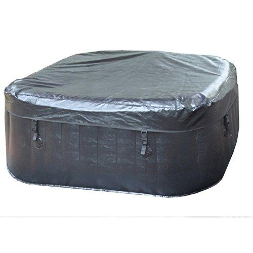 """LifeSmart PH50015 Aquaspa Deluxe 4-6 Person 130 Jet Portable Square Spa, Black, 73"""" x 25"""" x 73"""""""