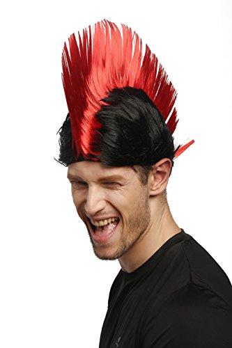 WIG ME UP ® - XR-012-P103/PC13 Perücke Karneval Fasching Iro Irokese Mohawk Punk rot schwarz Anarchie