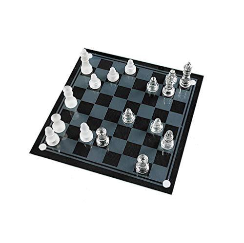 ZUOQUAN Brettspiele Ab 6 Jahre, Glas-Schachspiel, Trainieren Sie Die Intelligenz Der Kinder, Lernspielzeug Für Kinder Und Erwachsene, Schach Für Kinder Und Erwachsene(Einfach Zu Tragen),20 * 20CM