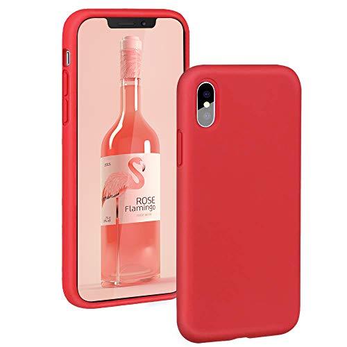 AIsoar Cover iPhone X, iPhone XS Custodia Originale 360 Gradi Silicone Antiurto Anti-Graffio e anticaduta Caso Ultra Sottile Protettiva Morbide Ultra Sottile Cover per iPhone X/XS 5.8'' (Rosso)