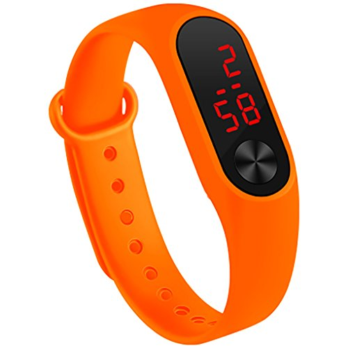 Fan Kouyang LED Uhr Sportuhr wasserdichte leuchtende Digitaluhr Armbanduhr (Orange)