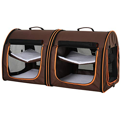 """Pawhut 39"""" Soft-Sided Portable Dual Compartment Pet Carrier - Brown"""