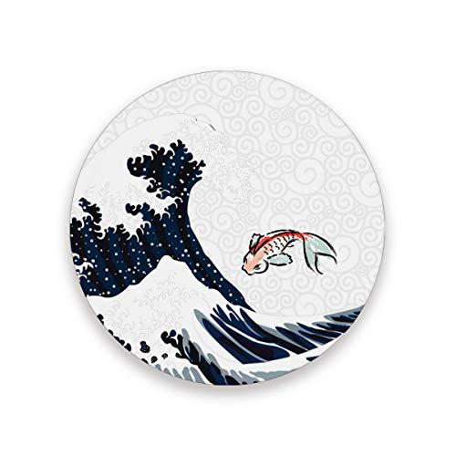FANTAZIO Japanischer Koi mit Welle Cup Mat Untersetzer für Wein Glas Tee Untersetzer mit verschiedenen Mustern passend für Arten von Tassen und Tassen, Holz, 1, 4 pieces set