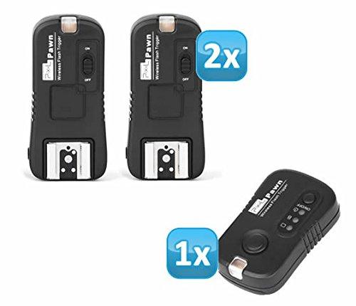 Impulsfoto Pixel Pawn TF-362 Funk Blitzausloeser Set mit 2 Empfaengern bis 100m kompatibel mit Nikon Blitzgeraete – Funkausloeser Kamera- und Blitz