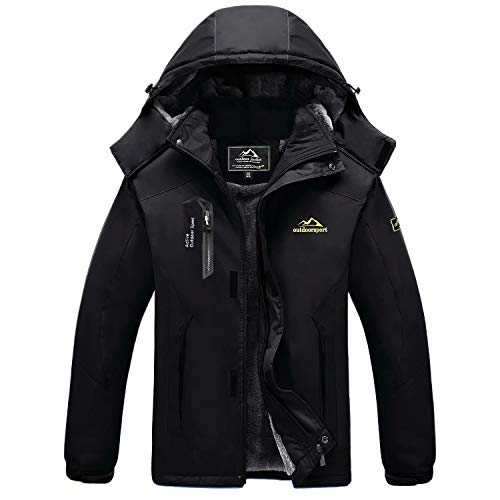 MAGCOMSEN Winter Jackets Men Warm Waterproof Jacket Snowboard Jacket Ski Jacket Tactical Jacket Coat Parka Jacket Men with Hood Raincoat Black