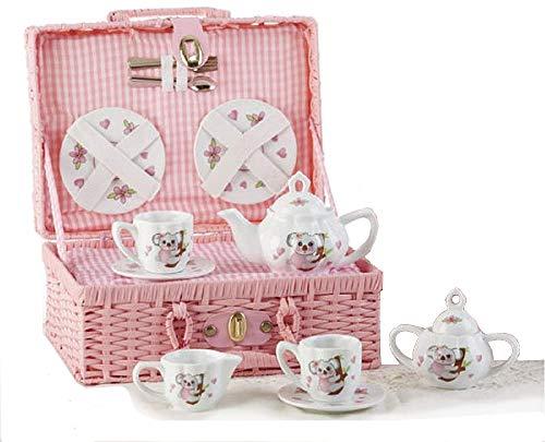 Delton Product Porcelain Tea Set in Basket Koala Kitchenware