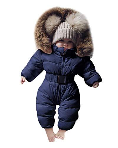 Minetom Baby Babykleidung Neugeborene Schneeanzug Winter Säugling Baby Junge Mädchen Spielanzug Strampler Jacke Mit Kapuze Overalls Warm Dicker Mantel Coat Outfit Marine 3-6Monate(60)