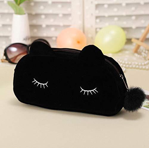 Linwei Women Cosmetic Bag Cute Cat Pattern Makeup Case Female Organizer Bag Black Blue Pencil Case,Black