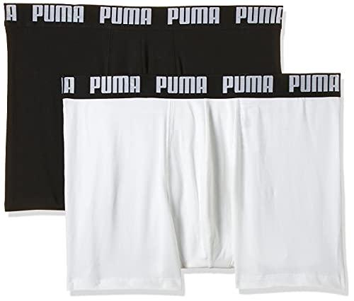 PUMA Herren Basic Boxers Boxer-Shorts, Weiß/Schwarz, L (2er Pack)