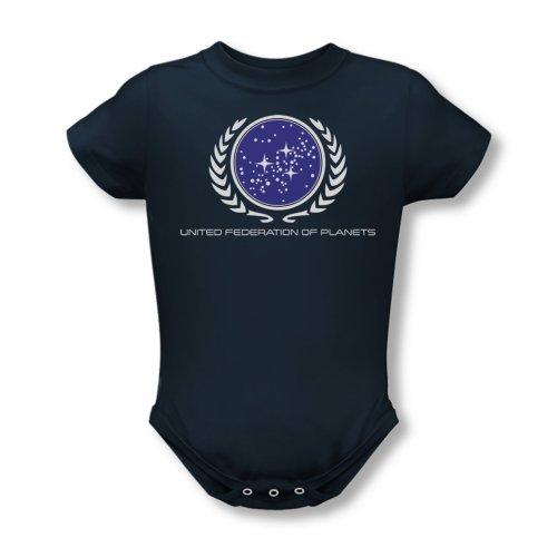 Star Trek - Infant United Federation Logo Babystrampler In Navy, 6 Months, Navy