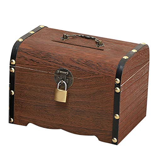 RICH Treasure Chest Storage Box,Money Box,Locking Cash Box Piggy Bank, Gifts Solid Wood Toy Home Decor Kids with Lock Free Standing Vintage
