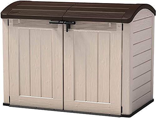 ANLW - Cobertizo de almacenamiento de plástico beige para jardín, 177 x 113 x 134 cm