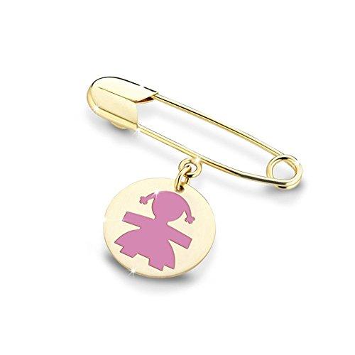 Broche con colgante Le Bebé Primegioie Femenino, oro amarillo de 9 quilates, esmalte rosa PMG010