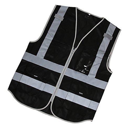 Sharplace Gilet de Sécurité Hi-Vis avec Bande Réfléchissante Veste Uniforme Construction - Noir, comme Décrit