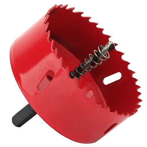 Hole Saw 90mm Bi-Metal Holesaw Cut with Hexagon Adapter Centring Drill Arbor Pilot Drill Bit Wood Plastic w/Rod for Wood Aluminum Iron Plastic