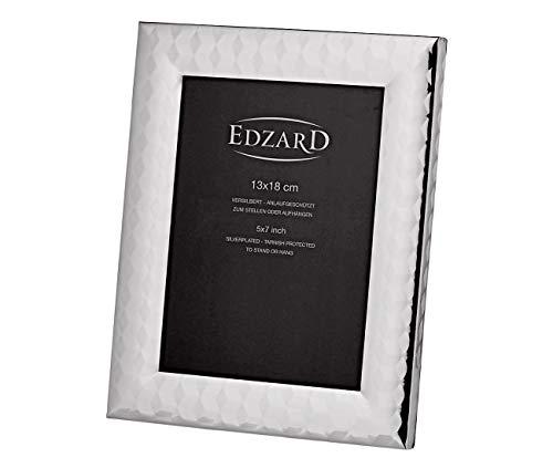 EDZARD Marco de fotos Faenza, 13 x 18 cm, bañado en plata, resistente al deslustre, con reverso de terciopelo, incluye 2 colgadores, para colgar y colgar