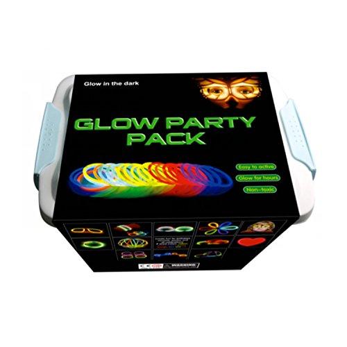 La Vida en Led Pack Fiesta XXL Glow Pulseras, Collares, Coronas, Gorras, Gafas, Pulseras triples, Orejas Conejo, Flores, Bola Luminosa - 482 Elementos