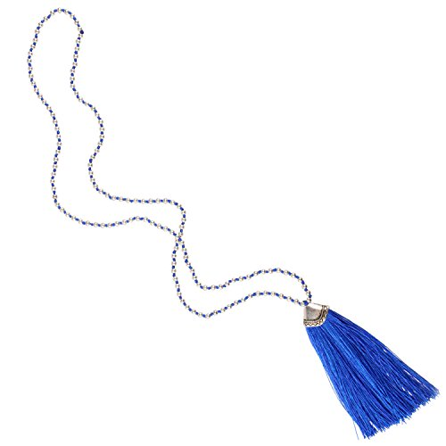 KELITCH Silver-Plated Beaded Chain Long Necklace with Tassel Pendant - Blue