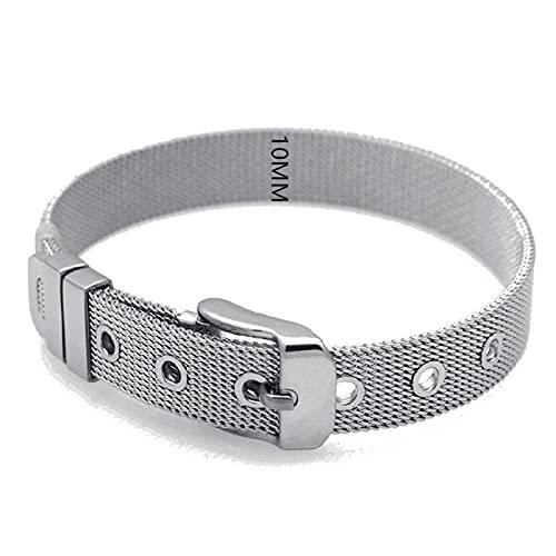 unmarked Pulsera de acero inoxidable de moda pulsera de malla reloj pulsera hombres y mujeres 10mm titanio malla acero pulsera 10mm