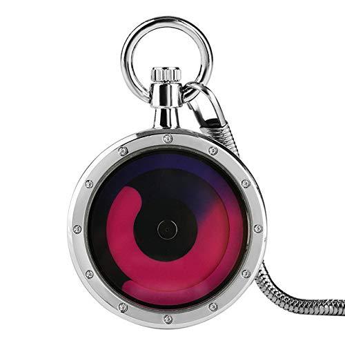 UIEMMY Reloj de bolsillo con diseño de remolino azul y morado, con diseño de cara abierta, de cuarzo, reloj de bolsillo moderno para hombres y mujeres, con cadena colgante, color morado
