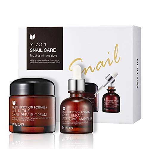 Korean Skin Care Set: All in One Snail Repair Cream (75ml) and Snail Repair Intensive Ampoule (30ml), Facial Moisturizer with Snail Mucin Extract, All in One Snail Recovery Effective Skincare by Mizon