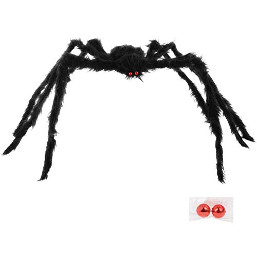 yosager Halloween Giant Spider Decorations with Spare Eyes, Foldable Hairy Scary Halloween Spider for Indoor House…