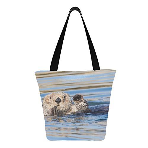 Netter lustiger Otter, der im Fluss schwimmt 11 × 7 × 13 Zoll maschinenwaschbare robuste Polyester-Einkaufstaschen für Lebensmittel Faltbare wiederverwendbare Einkaufstaschen aus Leinwa