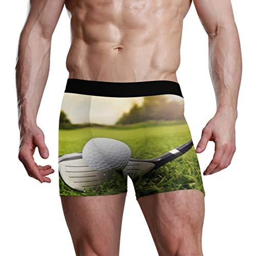 PIXIUXIU - Calzoncillos tipo bóxer para hombre, estilo bóxer sexy, para hombre, ropa interior, tronco, pelota de golf, césped, elástico, suave, ajuste clásico