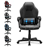 Yaksha Gaming Chair Massage Ergonomic Office Desk Chair Gamer Chairs with Headrest Armrest Lumbar Support Height Adjustable Computer Chair for Adults Teens(Cool Black)