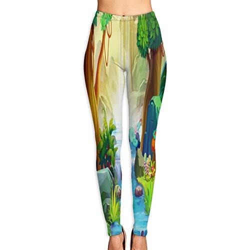 Benle Pantalones de Yoga para Mujer,Ilustración Creativa Arte Innovador Que va Aguas Arriba,Pantalones de Entrenamiento de Cintura Alta Medias elásticas de Yoga Impresas XL