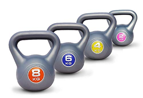 UK Fitness Kettlebell Set Vinyl Kettlebells Strength and cardio weight training INCLUDES FREE Video and Online Classes (2kg+4kg+6kg+8kg)