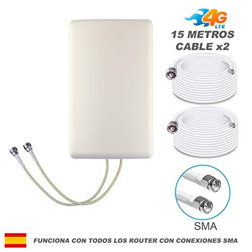 BOOSTCELL Antena 4G LTE Router MIMO para Zonas de Mala Cobertura. (15 Cable)