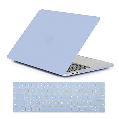 Se7enline 2016/2017/2018/2019/2020 MacBook Pro 13 Case Frosted Plastic Hard Cover for MacBook Pro 13'' Model A2289/A2251/A1706/A1708/1989/A2159 with Touch Bar with Keyboard Skin, Serenity Blue