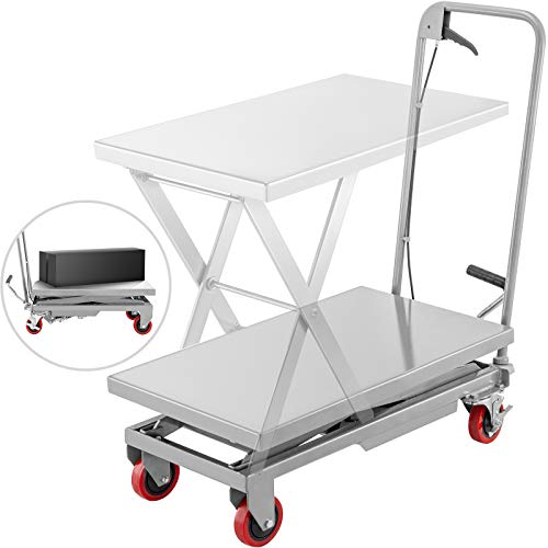 BestEquip Hydraulic Scissor 500LBS Capacity, Cart Lift Table Cart 28.5-Inch Lifting Height, Manual Scissor Lift Table w/ 4 Wheels and Foot Pump, Elevating Hydraulic Cart for Material Handling, in Grey