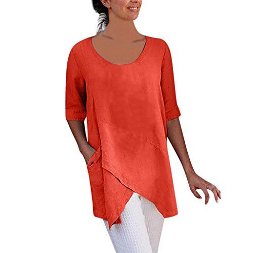 VEMOW Camisetas Mujer Blusa de algodón y Lino de Media Manga con diseño Cruzado para Mujer Camiseta con Bolsillo Tops(Naranja,L)