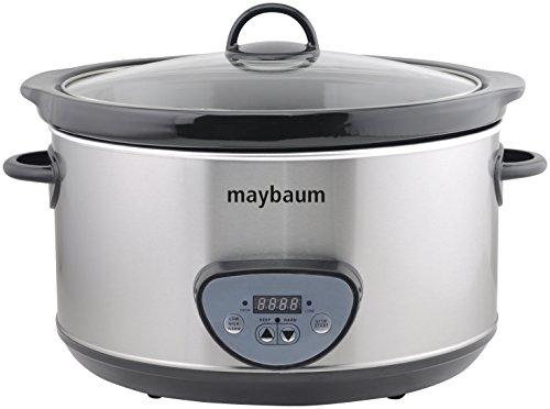 Maybaum MAYB SC 1 Digitaler Schongarer / Slow Cooker für 1001 Gerichte, 4,5 L, silber