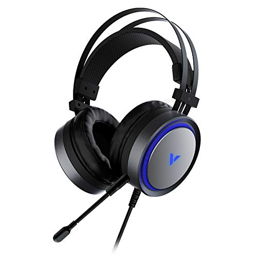 Rapoo VH530 RGB Gaming Headset - High-Fidelity 7.1 Surround Sound W/Broadcast Quality Microphone, Durable Aluminum Frame, Noise Cancelling Over Ear Headphones with Mic, LED Light, Bass Surround