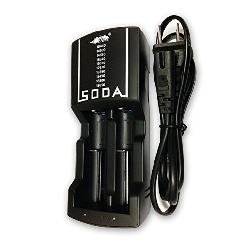 Efest Soda Cargador doble para 3,7V batería 10440/14500/14650/16340/16650/17650/17670/18350/18490/18500/18650Li-ion recargable