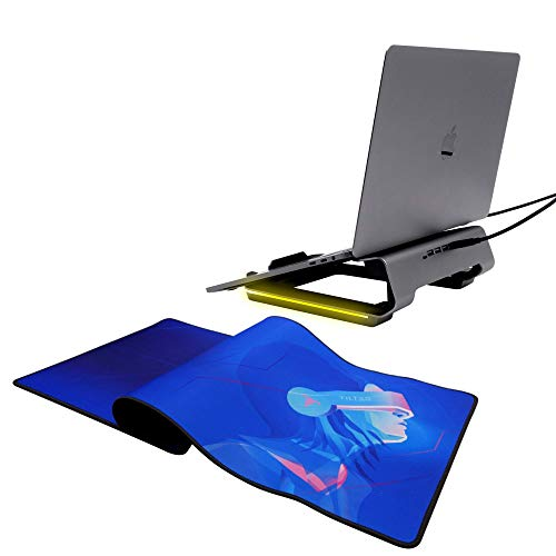 Tilted Nation Extended Gaming Mouse Pad and an Ergonomic Gaming Laptop Stand, Transform Your Desk