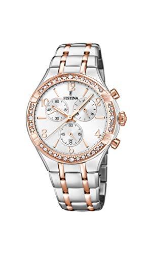 Festina Damen Chronograph Quarz Uhr mit Edelstahl Armband F20394/1