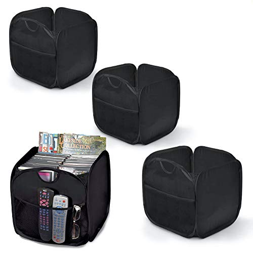 Smart Design Pop Up Organizer Cube - Polyester - for Toddlers, Baby Clothes, Plushies, & Toys - Home Organization (10.5 x 11 Inch) (Black) - Set of 4