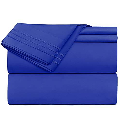 Clara Clark Premier 1800 Series 4 Piece Sheet Set Deep Pocket Brushed Microfiber, Wrinkle, Fade & Stain Resistant, King Size, Royal Blue