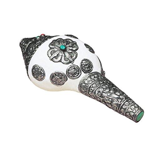 Vintage Concha Plata Tibetana Con Incrustaciones Concha Cuerno Caracol De Mar Trompeta Budismo Instrumento Musical Budista - 2, como se describe