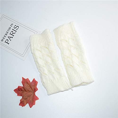 Winter Gloves Unisex Wool Gloves Warm Fingerless Cold Casual Wool Gloves (Color : White, Size : One Size)
