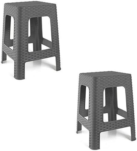 2X Taburete Silla de plástico Estilo Rattan Gris Asiento Cuadrado cómodo jardín Banco