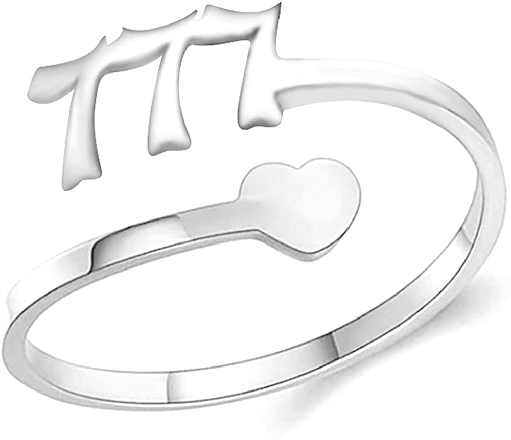 Stainless Steel Heart Charm Luck Angel Number Adjustable Size Wedding Band Anniversary Promise Ring