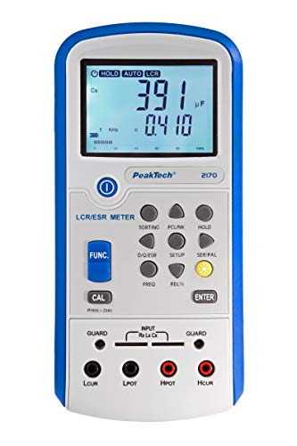 PeakTech 2170 – LCR-Meter, ESR-Messgerät mit USB inkl. Software, LCR Auto-Erkennung, Frequenz 1/120 Hz, 1/10/100 kHz, Digitales Multimeter, Messgerät, Strommessgerät, beleuchtete LCD-Anzeige, Bargraph